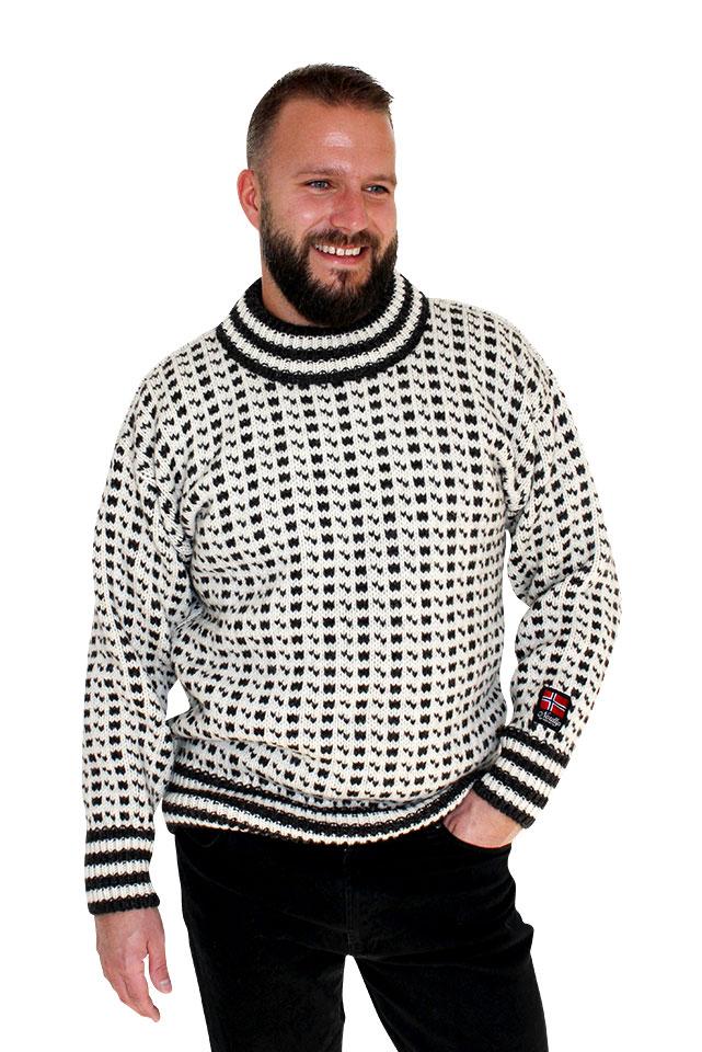 """Nordlys """"Islender"""" extreme strikket genser for dame og herre, hvit og sort."""