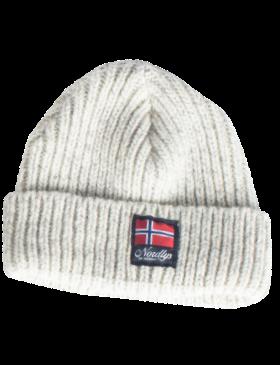 """Nordlys """"Lofoten"""" strikket ull lue gråmelert."""