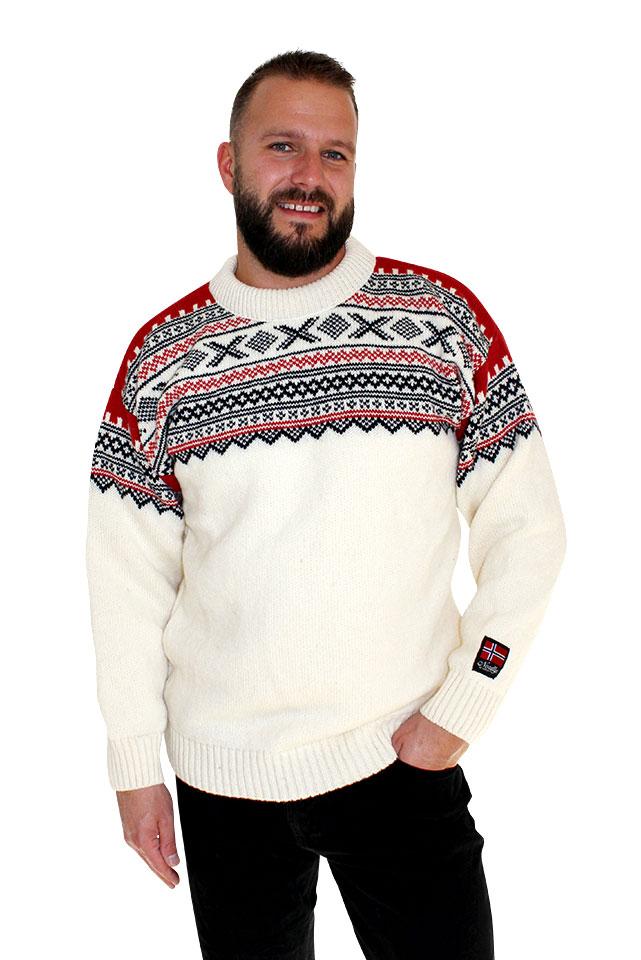"""Nordlys """"Elegant"""" hvit strikket genser for dame og herre, med rund hals."""
