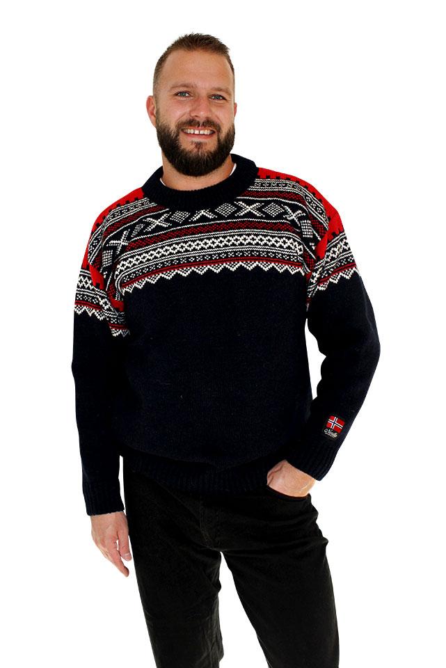 """Nordlys """"Elegant"""" marine strikket genser for dame og herre, med rund hals."""