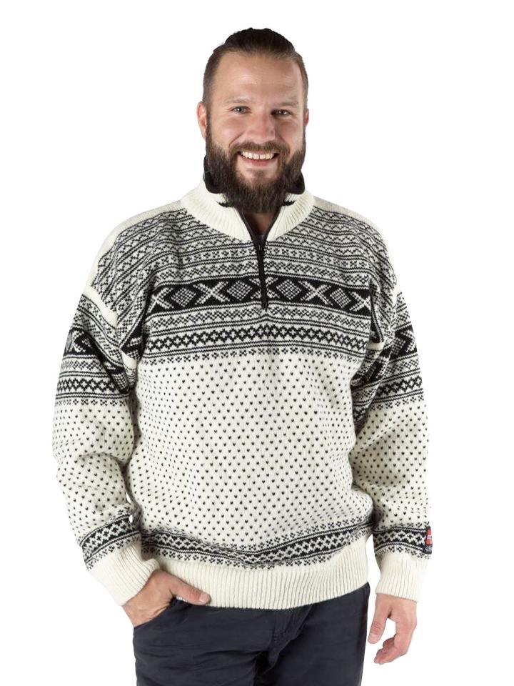 """Nordlys """"Setesdal"""" hvit og sort strikket genser for dame og herre."""
