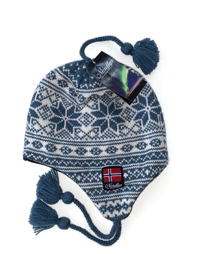 """Nordlys """"Mønstret"""" strikket ull lue med snor - blå."""