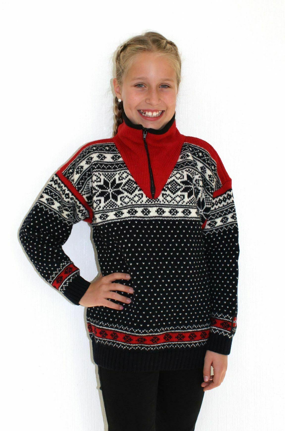 """Nordlys """"Mønstret"""" strikket genser barn, blå og hvit, 2 til 12 år."""