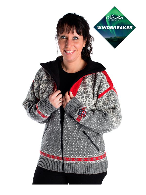 Nordlys «Mønstret» grå og hvit strikket jakke med glidelås for dame og herre, vindtett.