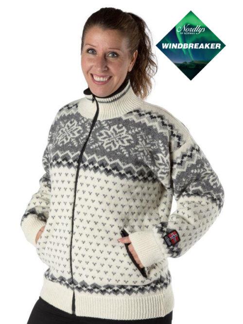 Nordlys «Turist» hvit og grå strikket jakke med glidelås for dame og herre, vindtett.