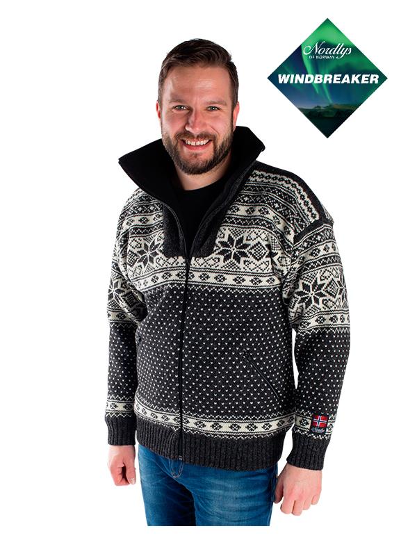 Nordlys «Mønstret» sort og hvit strikket jakke med glidelås for dame og herre, vindtett.