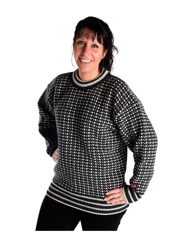 """Nordlys klassisk """"Islender"""" strikket genser for dame og herre, sort og hvit."""