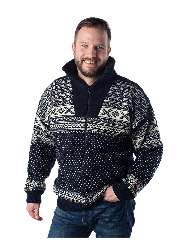 "Nordlys ""Setesdal"" marine strikket jakke med glidelås for dame og herre, vindtett."