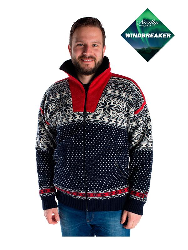 Nordlys «Mønstret» marine og rød strikket jakke med glidelås for dame og herre, vindtett