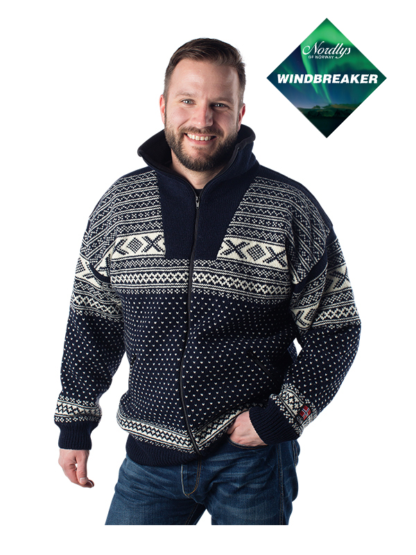 Nordlys «Setesdal» marine strikket jakke med glidelås for dame og herre, vindtett.