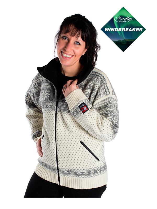 Nordlys «Mønstret» hvit og grå strikket jakke med glidelås for dame og herre, vindtett.