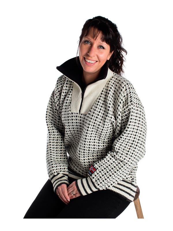 """Nordlys """"Islender"""" strikket genser for dame og herre, hvit og sort med glidelås."""