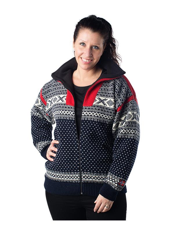 """Nordlys """"Setesdal"""" marine og rød strikket jakke med glidelås for dame og herre, vindtett."""