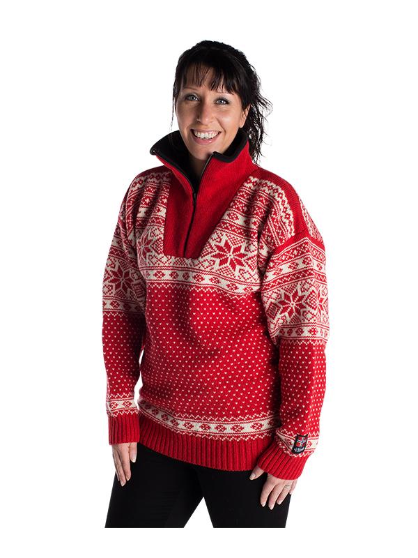 """Nordlys """"Mønstret"""" rød strikket genser for dame og herre."""