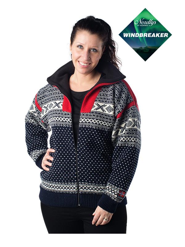 Nordlys «Setesdal» marine og rød strikket jakke med glidelås for dame og herre, vindtett.
