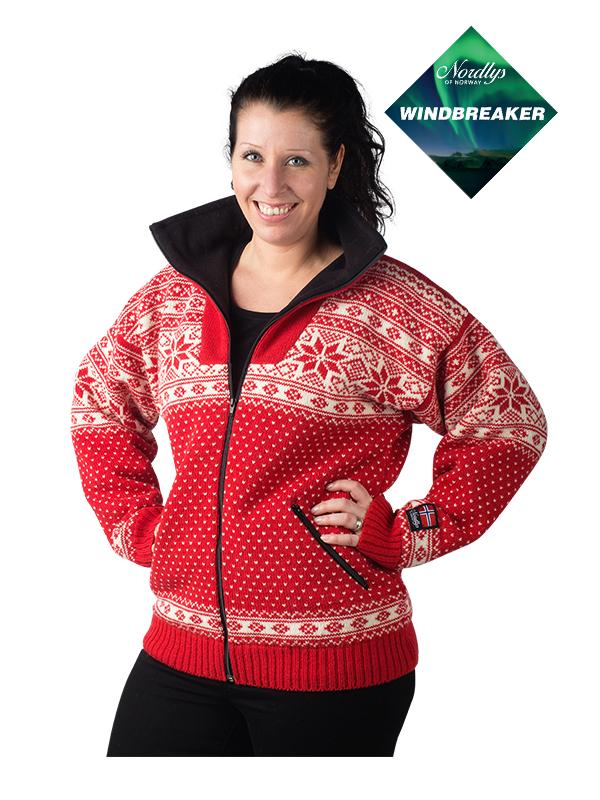 Nordlys «Mønstret» rød og hvit strikket jakke med glidelås for dame og herre, vindtett.