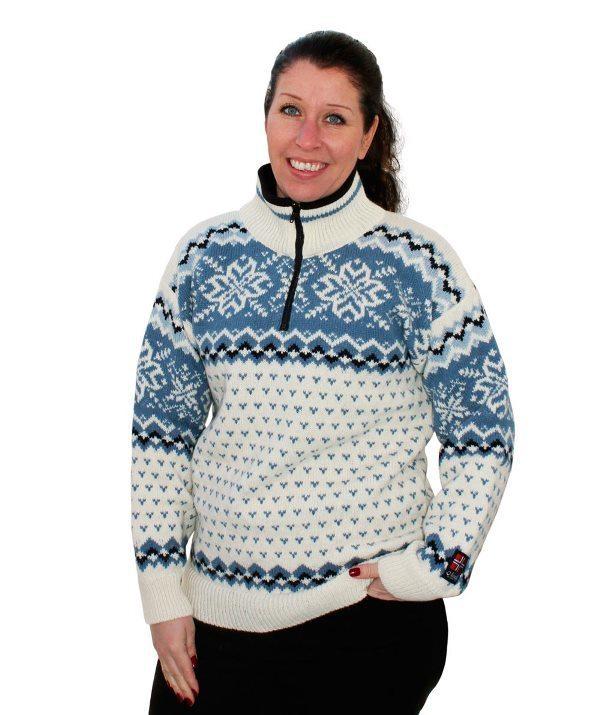 "Nordlys ""Turist"" hvit og blå strikket genser for dame og herre."