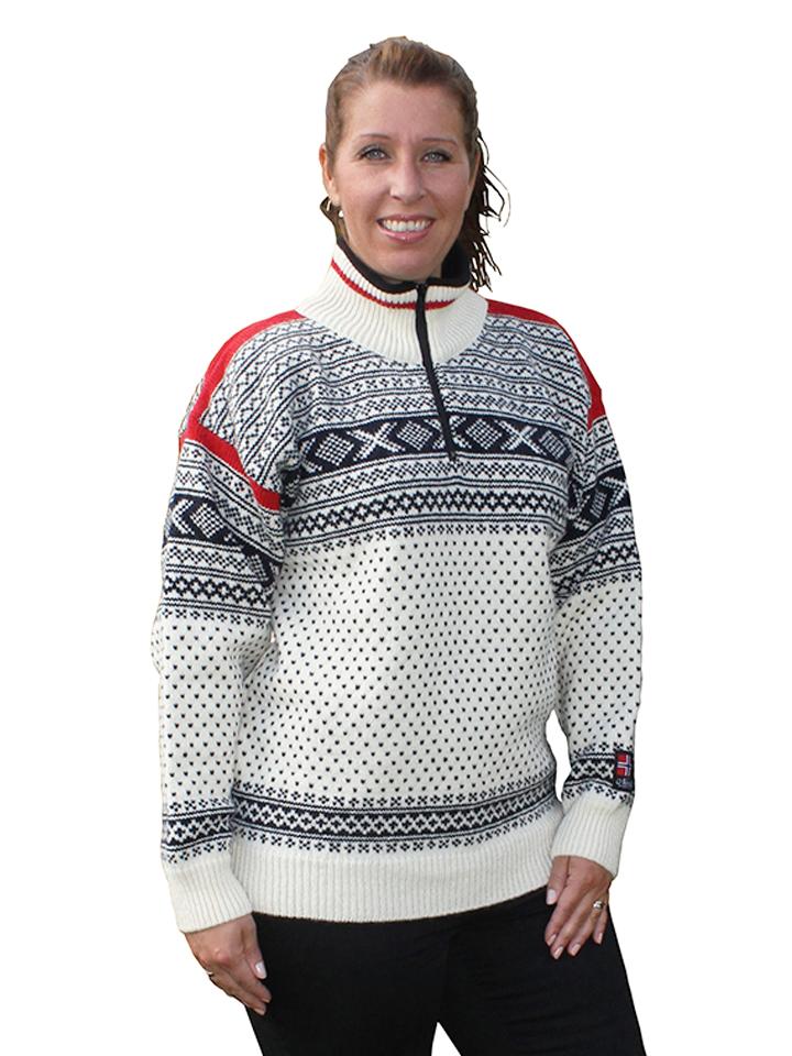 """Nordlys """"Setesdal"""" hvit og rød strikket genser for dame og herre."""