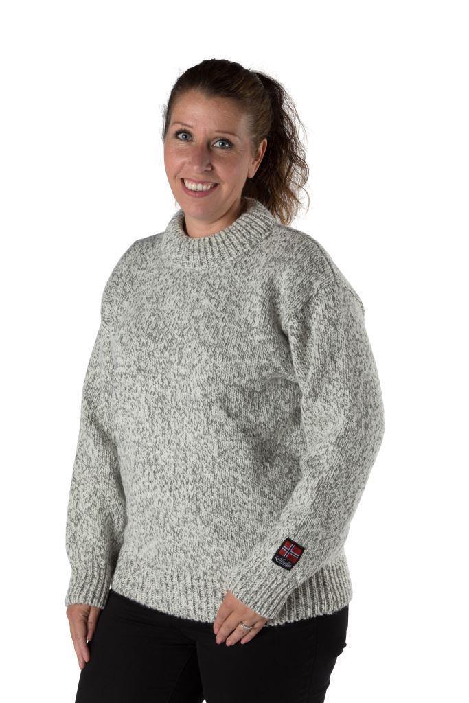 """Nordlys """"Lofoten"""" strikket genser for dame og herre med rund hals."""