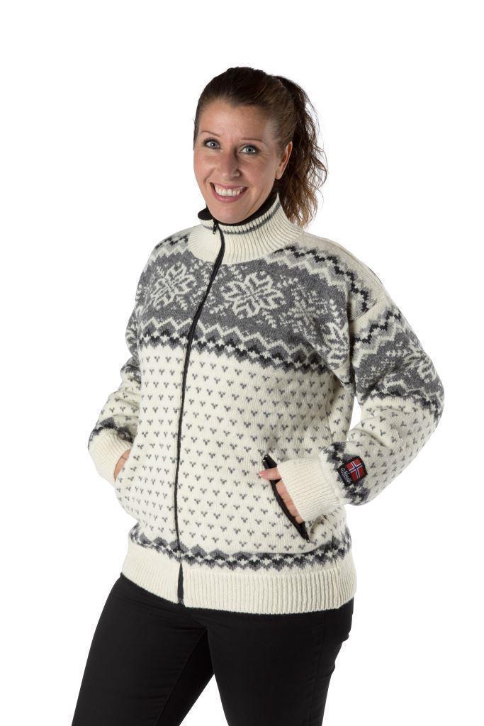 """Nordlys """"Turist"""" hvit og grå strikket jakke med glidelås for dame og herre, vindtett."""