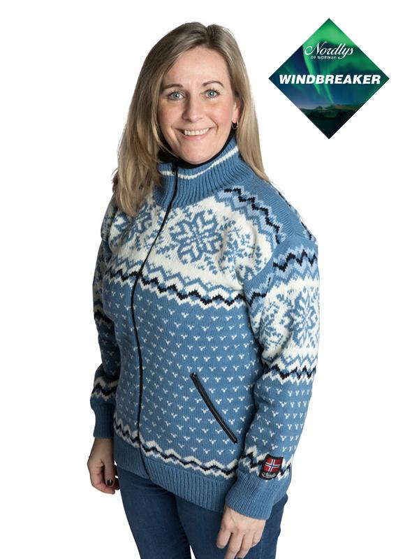 Nordlys «Turist» blå og hvit strikket jakke med glidelås for dame og herre, vindtett.