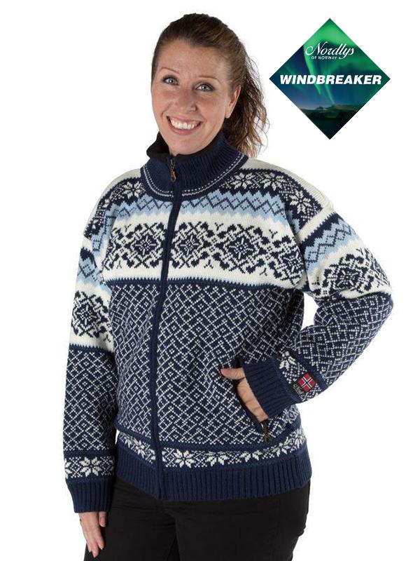 Nordlys «Turist» marine og hvit strikket jakke med glidelås for dame og herre, vindtett.