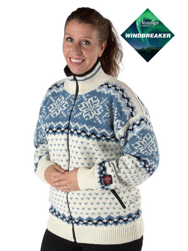 Nordlys «Turist» hvit og blå strikket jakke med glidelås for dame og herre, vindtett.