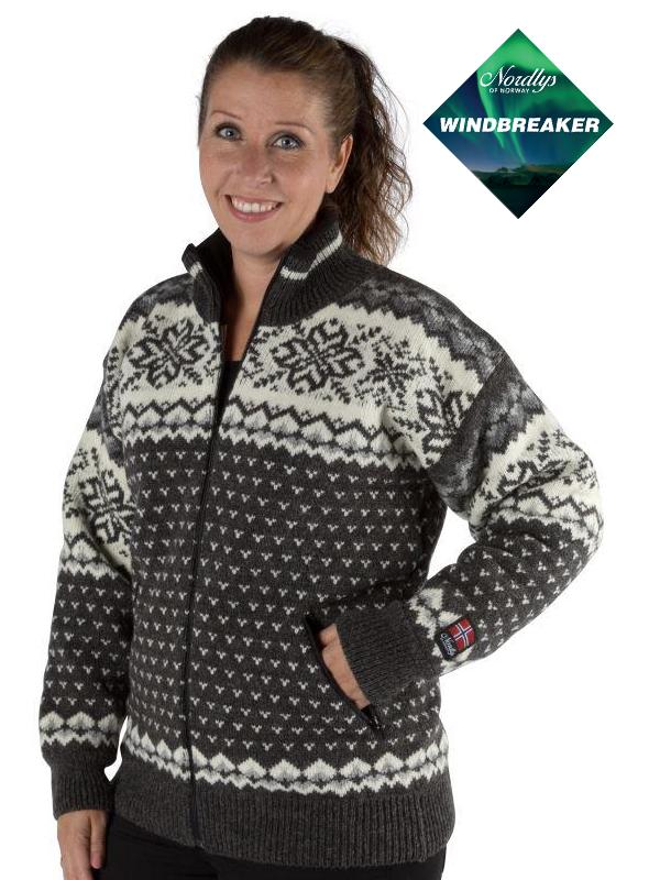 Nordlys «Turist» koks strikket jakke med glidelås for dame og herre, vindtett.