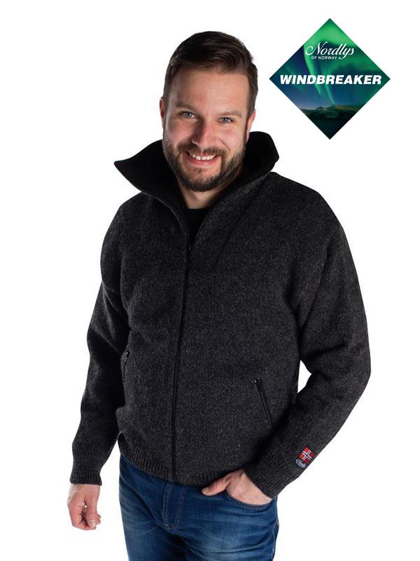 Nordlys «Klassisk»sort strikket jakke med glidelås for dame og herre, vindtett.
