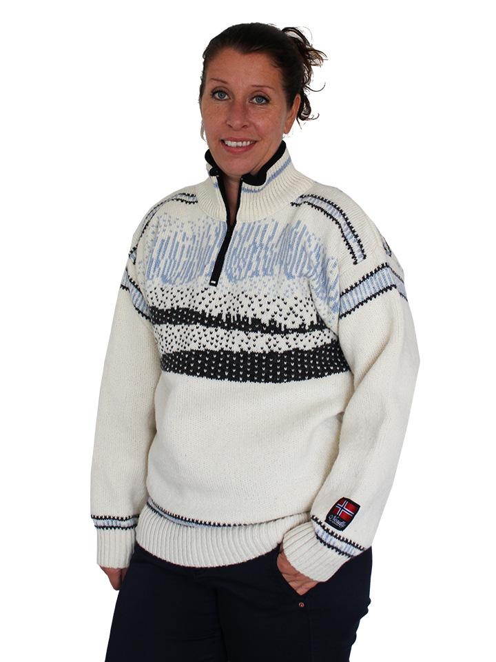 """Vår egen """"Nordlys"""" hvit og blå strikket genser for dame og herre."""