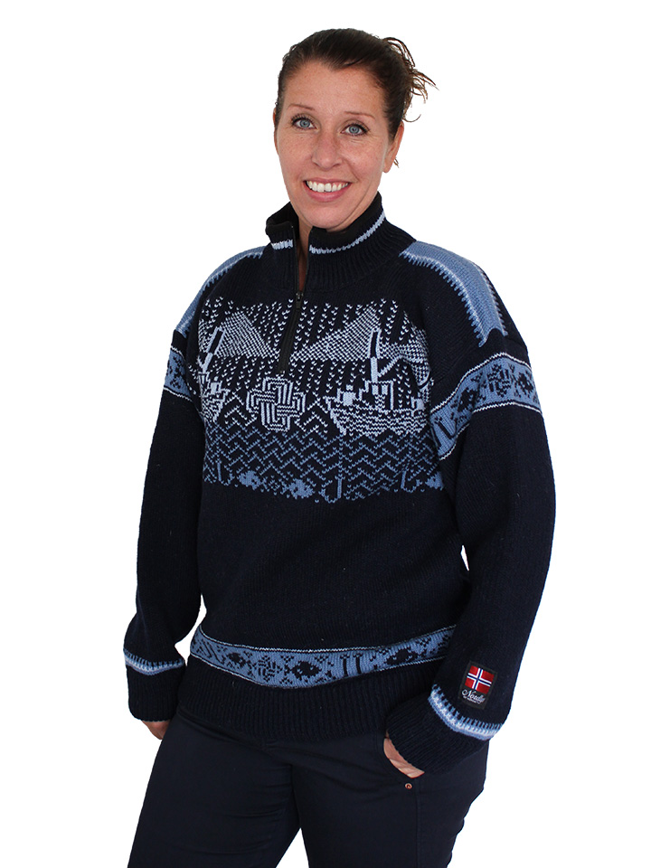 "Nordlys ""Kystgenser"" blå og hvit strikket genser for dame og herre."
