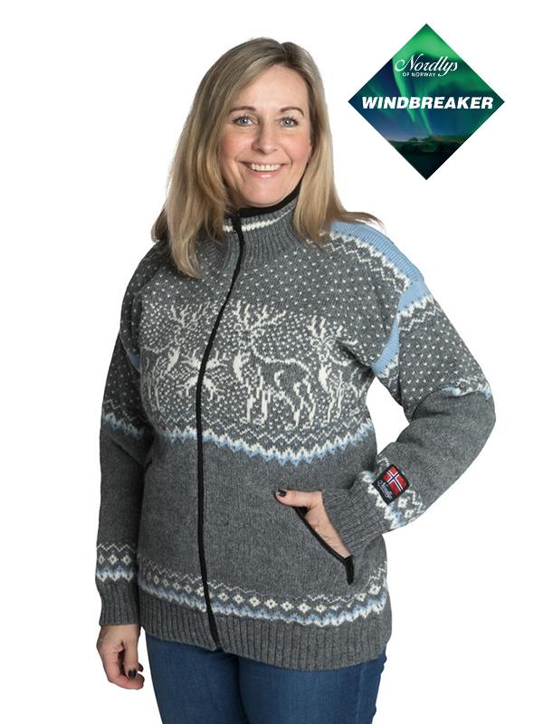 Nordlys «Vestland» grå og blå strikket jakke med glidelås for dame og herre, vindtett.