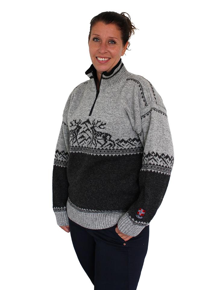 "Nordlys ""Femund"" grå og sort strikket genser for dame og herre."