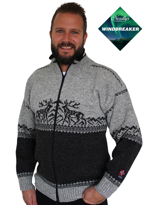 Nordlys «Femund» grå og koks strikket jakke med glidelås for dame og herre, vindtett.