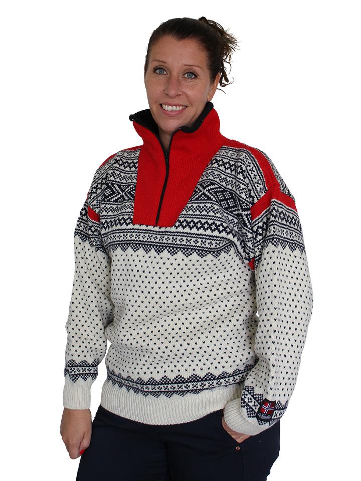 """Nordlys """"Setesdal"""" elegant hvit og rød strikket genser for dame og herre."""