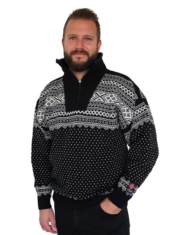 """Nordlys """"Setesdal"""" elegant blå og hvit strikket genser for dame og herre."""