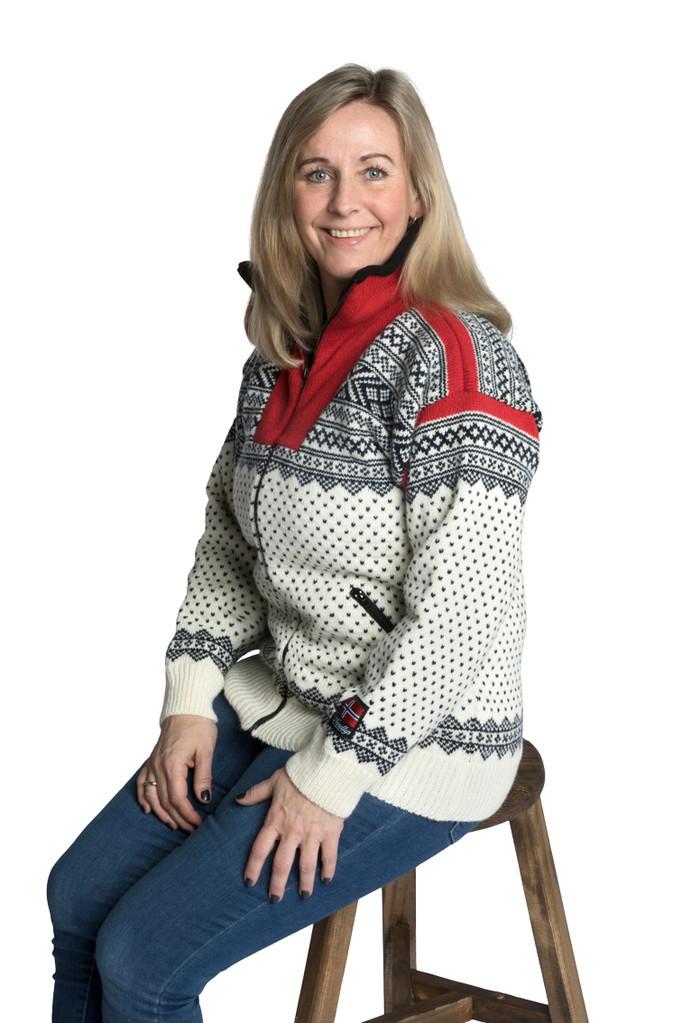 "Nordlys ""Setesdal"" hvit og rød strikket jakke med glidelås for dame og herre, vindtett."