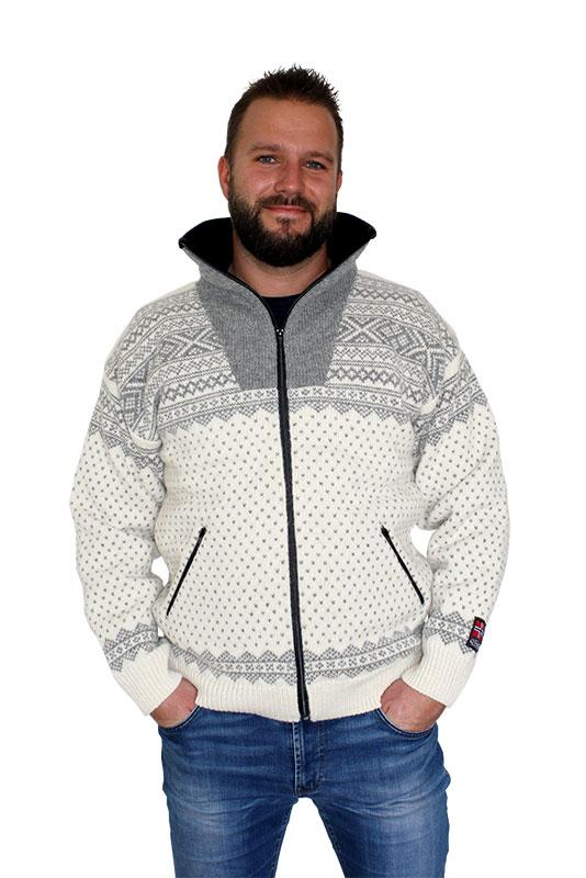 """Nordlys """"Setesdal"""" hvit og grå strikket jakke med glidelås for dame og herre, vindtett."""