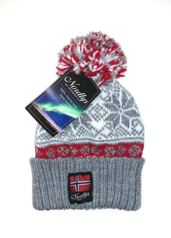 "Nordlys ""Mønstret"" strikket topplue - grå og rød."
