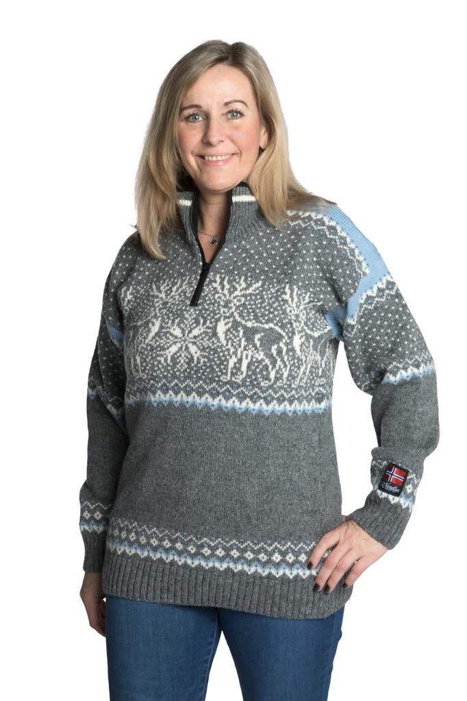 Nordlys «Vestland» grå hvit strikket genser for dame og herre.