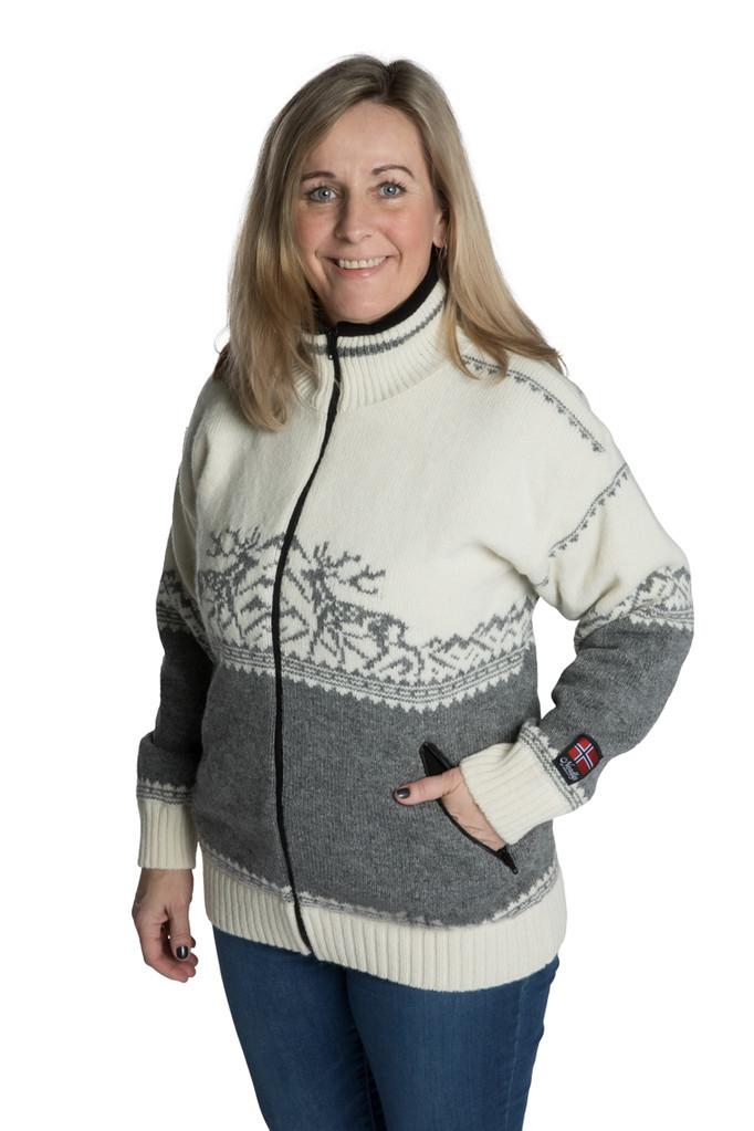 """Nordlys """"Femund"""" hvit og grå strikket jakke med glidelås for dame og herre, vindtett."""