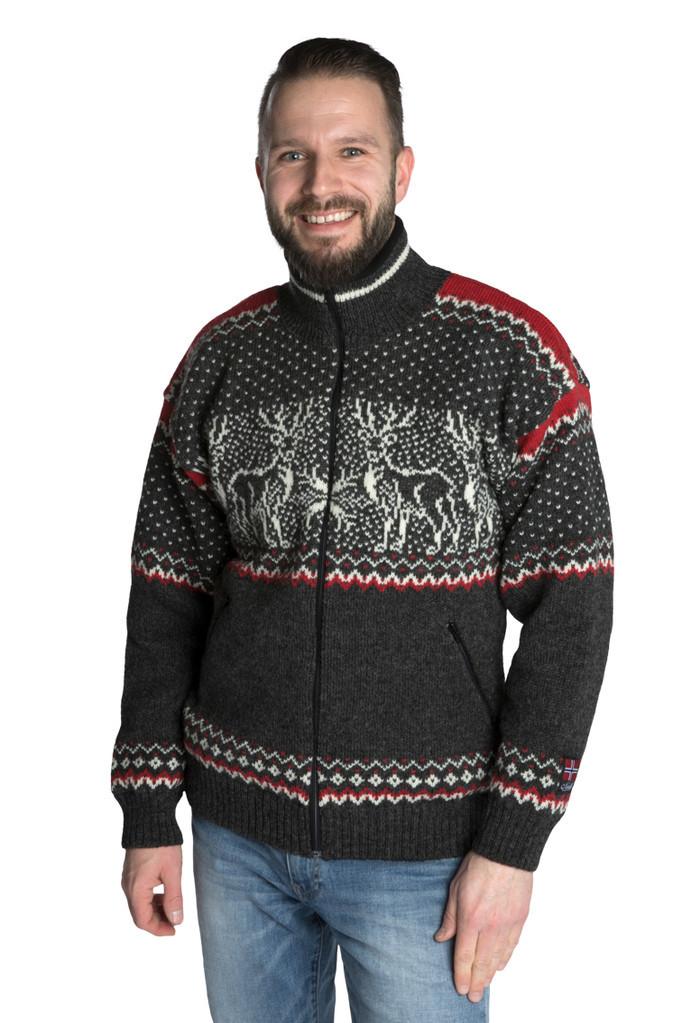"Nordlys ""Vestland"" grå og hvit strikket jakke med glidelås for dame og herre, vindtett."