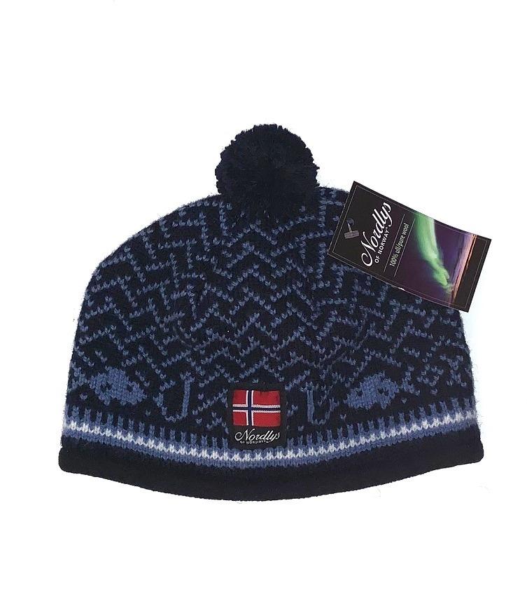 """Nordlys """"Kyst"""", strikket ull lue med dusk, blå."""