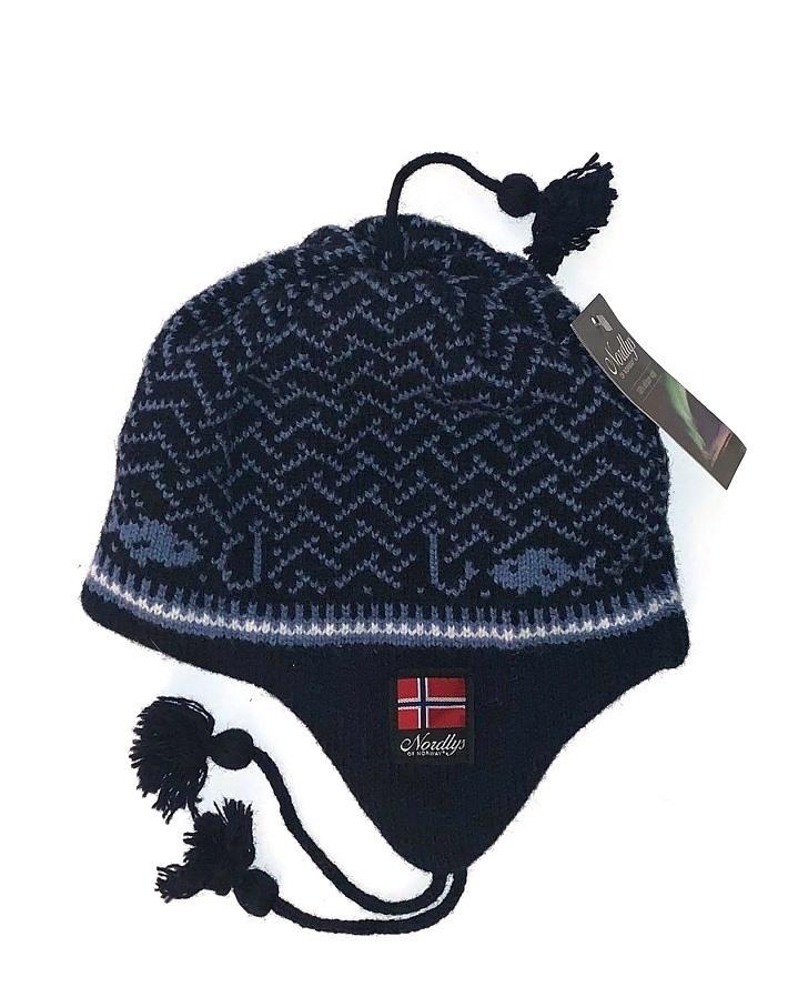 """Nordlys """"Kyst"""", strikket ull lue med snor, blå."""