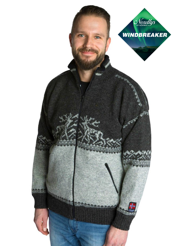 Nordlys «Femund» koks og grå strikket jakke med glidelås for dame og herre, vindtett.