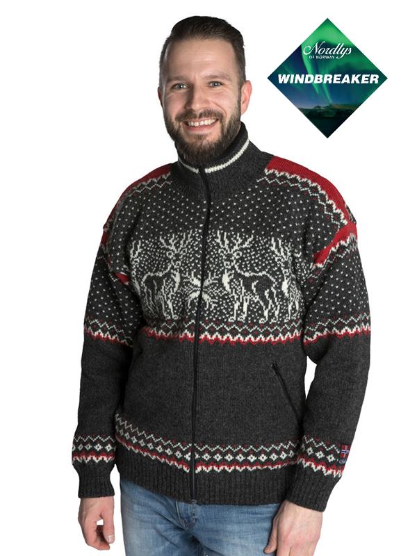 Nordlys «Vestland» grå og hvit strikket jakke med glidelås for dame og herre, vindtett.