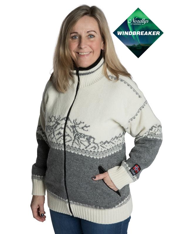 Nordlys «Femund» hvit og grå strikket jakke med glidelås for dame og herre, vindtett.