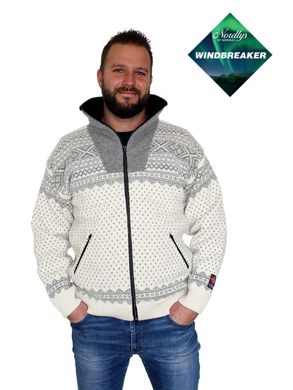 Nordlys «Setesdal» hvit og grå strikket jakke med glidelås for dame og herre, vindtett.