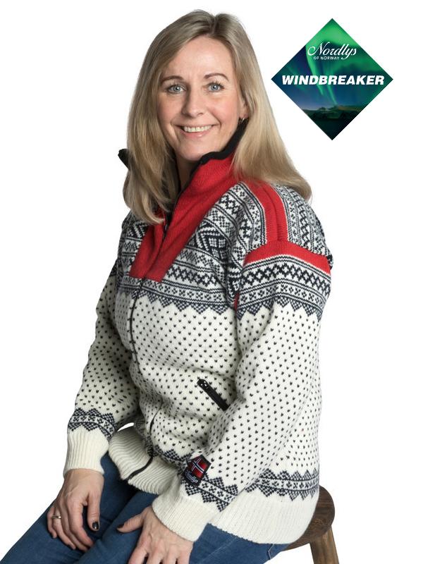 Nordlys «Setesdal» hvit og rød strikket jakke med glidelås for dame og herre, vindtett.