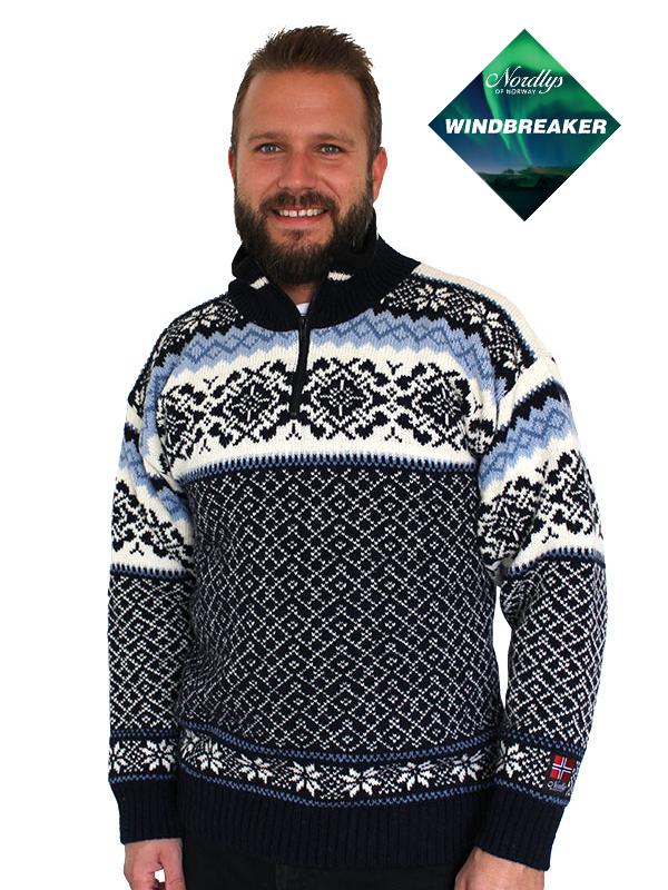 Nordlys «Turist»marine og hvit vindtett strikket genser med glidelås for dame og herre.